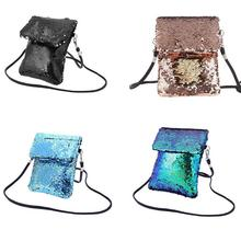 5d92618b5f Cute Double Sided Sequins Bags Color Mini Square Shoulder Messenger Mobile  Phone Storage Bag For Women