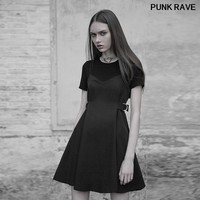 Gothic Stitching Wrap Waistband decoration Dress Fashion simple Black Short Sleeve Fake Two Piece Strap dresses PUNK RAVE PQ 393