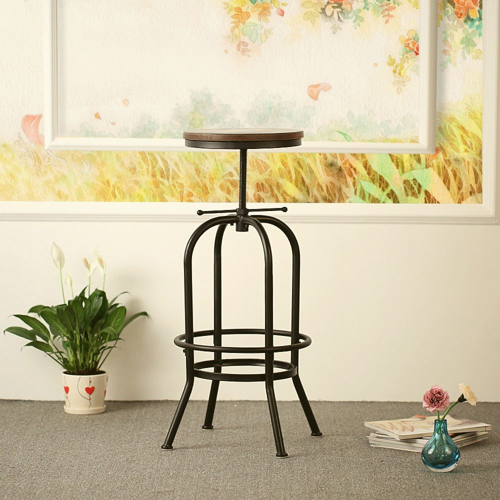 Peachy Ikayaa Bar Stool Industrial Style Height Adjustable Swivel Bar Stool Natural Pinewood Top Kitchen Breakfast Dining Chair Squirreltailoven Fun Painted Chair Ideas Images Squirreltailovenorg