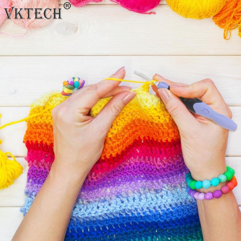 38pcs USB Rechargeable LED Light Up Crochet Hooks Set Needle Knitting Weave Tool