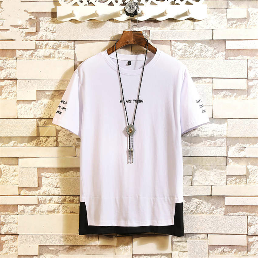 2019 Summer New Large Size Loose Fake Two Short Sleeve Tshirt Men Fashion Casual Trend Letter Embroidery Decoration Mens T shirt