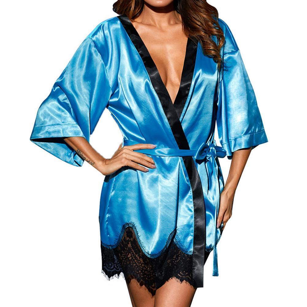 Women Solid Color Sexy Sleepwear Dress Nightgown Silk Babydoll Lace Bathrobe New