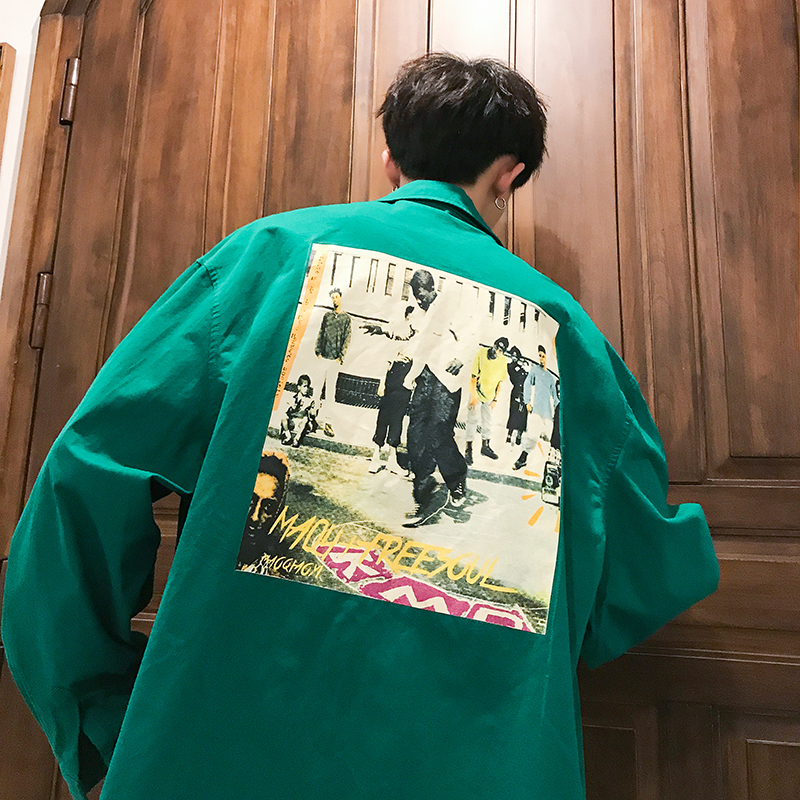 TSpring New Shirt Men Fashion Cartoon Print Casual Man Streetwear Trend Wild Loose Long-sleeved Male Clothes M-4XL