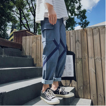 Mens Overalls 2019 Spring New Loose Straight Pocket Decorative Pants Personality Casual Youth Urban Style Trend