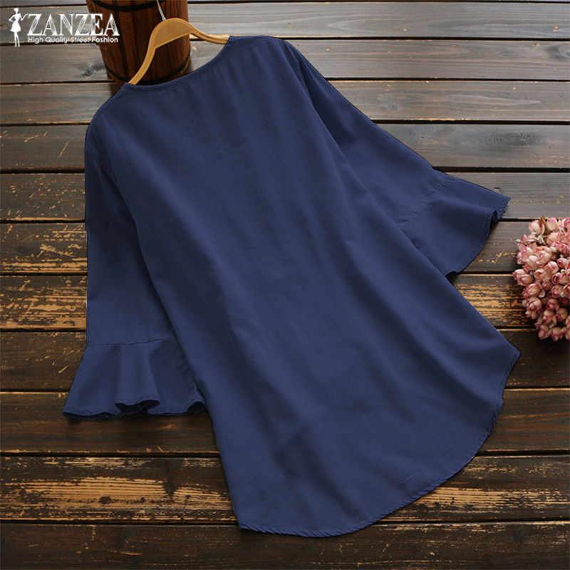 2019 ZANZEA Elegant Work Chic Tunic Tops Summer V Neck Pleated Irregular Shirts Women Flare Sleeve Ruffled Blouse Chemise Female