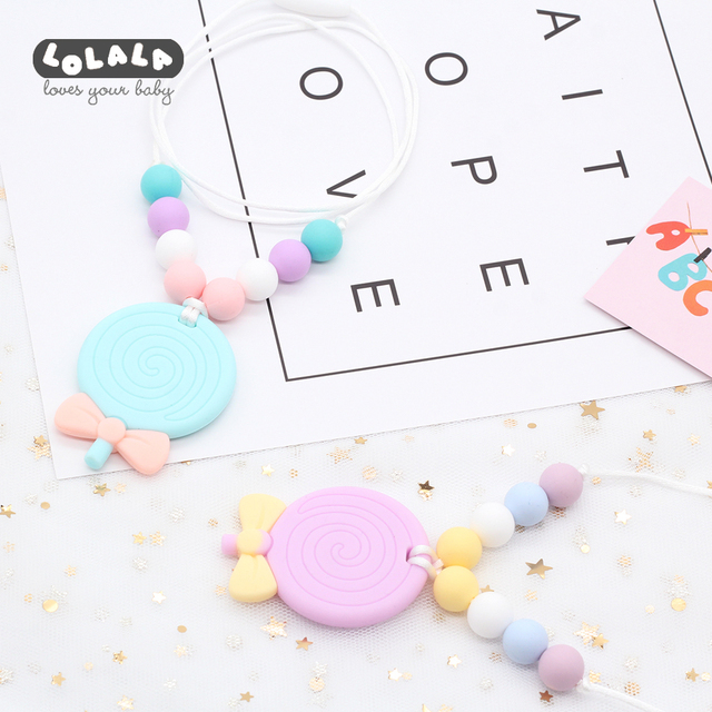 Silicone Teether Pendant Necklaces Rubber Toys Birthday Gifts Children Girls Best Baby And Mom Nursing Chain Jewelry Accessories