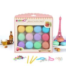 12pcs/set DIY Squishy Plasticine Colorful Macaron Crystal Slime Toys Blowing Bubbles Mud Funny Kids Gift