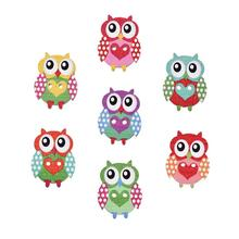 50pcs Colorful Owl Wooden Buttons Decorative Sewing Wood Button For Clothing DIY Handmade Clothes Decoration Scrapbooking