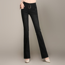 Spring Autumn Jeans Women Vintage High Waist Denim Pants Elastic Skinny Flare Stretch Femme