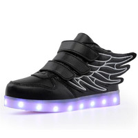New Spring/Autumn Casual Shoes Children LED Light Shoes USB Charging High Top Boys Sneakers Student Kids Girls Glowing Shoes 02B