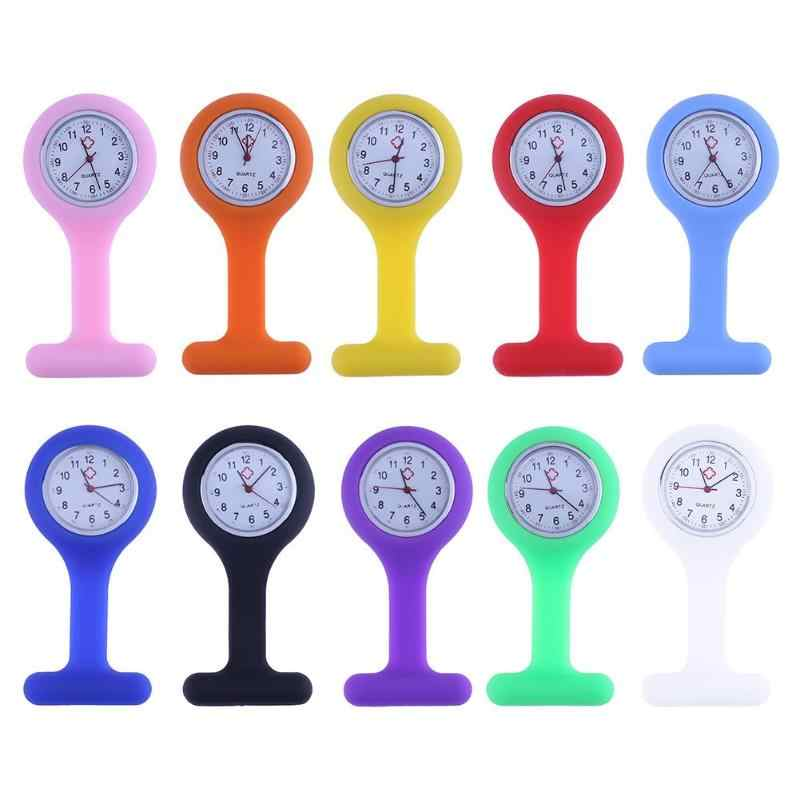 Fashion Nurses Brooches Watches Doctor Fob Watch Silicone Tunic Batteries Medical Nurse Women Watches Quartz with Clip