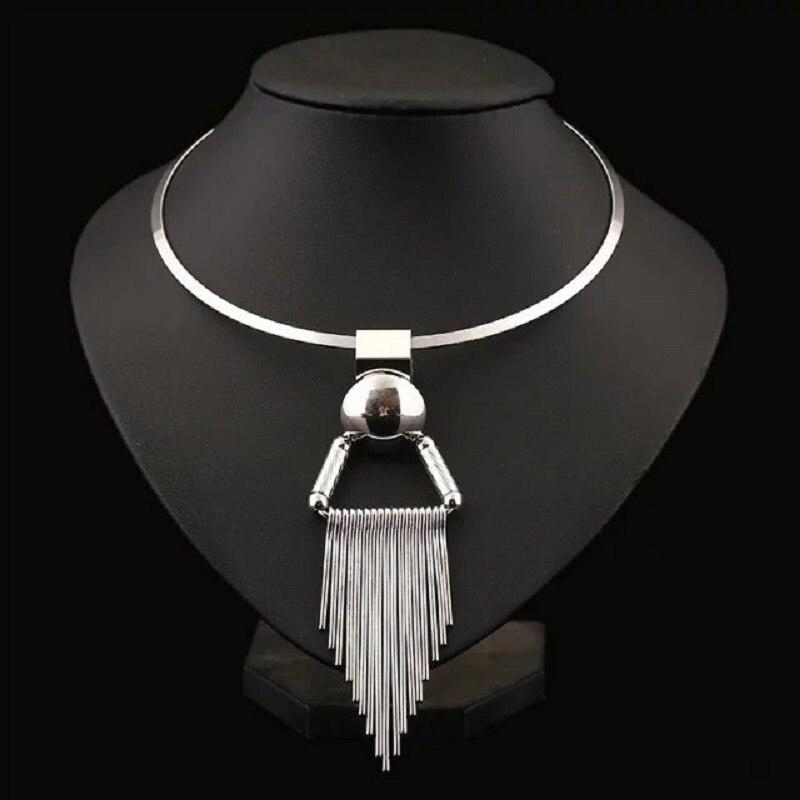 LUFANG 2019 Módní stříbrná barva Dlouhý řetízek Bohemian Maxi Prohlášení náhrdelník Big Tassel Punk Power Choker náhrdelník Dámské šperky