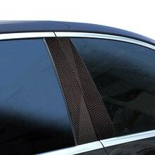 6 pcs samochodów Carbon Fiber okno B filar Molding Decor pokrywa wykończenia dla Mercedes Benz C klasa W204 2007 2008 2009 2010 2011 2012 2013