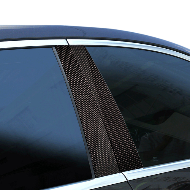 6pcs Car Carbon Fiber Window B pillar Molding Decor Cover Trim For Mercedes Benz C Class W204 2007 2008 2009 2010 2011 2012 2013