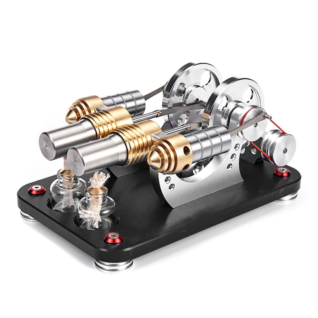 Moteur Stirling parallèle 2 cylindres Bootable en métal modèle Micro moteur à Combustion externe modèle élégant noir-in Kits de construction from Jeux et loisirs    1