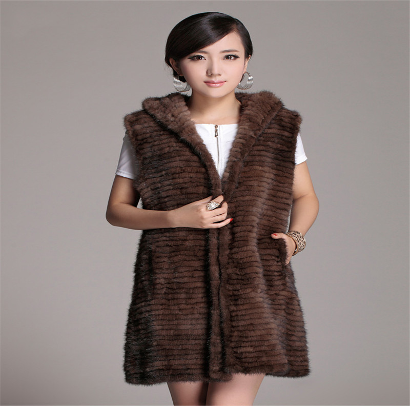 NEW fashion The Real Mink Fur Knitted Vest Coat for Women Autumn and Winter Warm Thick Long Section Fur Pure Hand-prepared