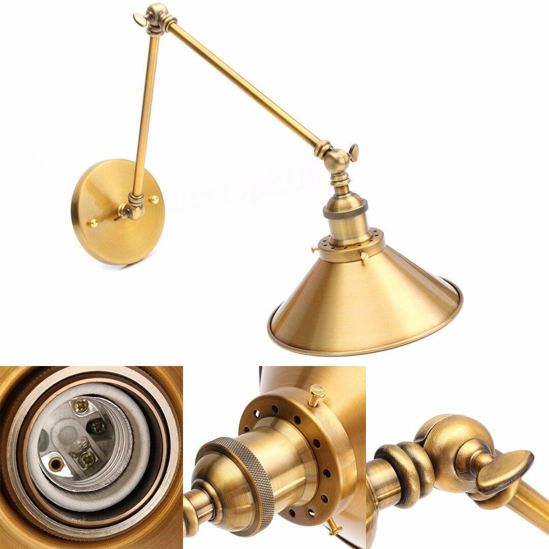 ikvvt retro brass wall lamp w long swing arm illumination lighting fixture sconce 2 adjustable. Black Bedroom Furniture Sets. Home Design Ideas