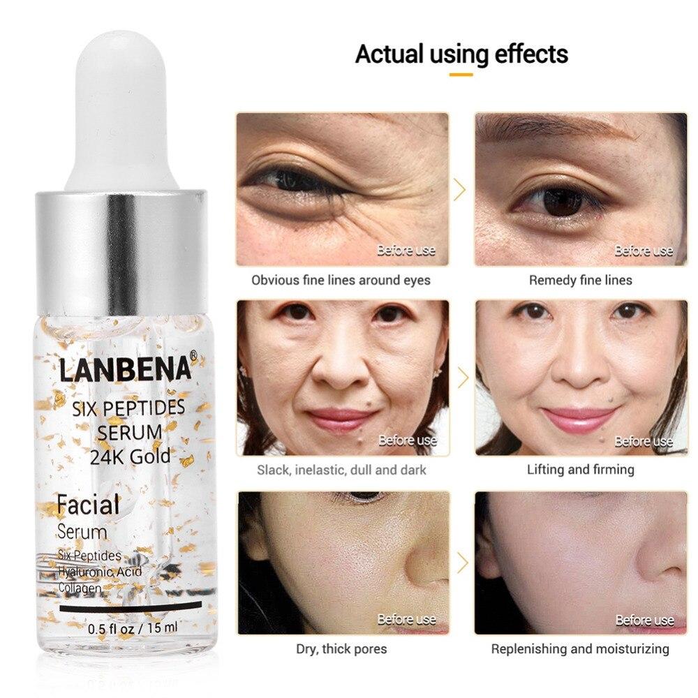 LANBENA Vitamin C Serum Six Peptides Serum 24K Gold Anti-Aging Moisturizing Remove Freckle Dark Spot Skin Whitening Brighten