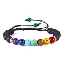 Clássico chakra 8mm lava pedra grânulos 7 cor corrente pulseiras para mulheres tecido corda yoga moda amizade ajustável jóias