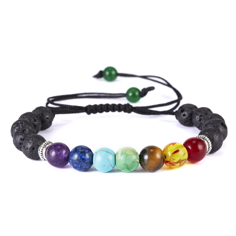 Classic Chakra 8mm Lava Stone Beads 7 Color Chain Bracelets for Women Men Elastic Rope Yoga Fashion A Bracelet Friendship