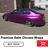 Satin Chrome Vinyl Car Wrap Film Purple For Vehicle Cover With Air Release matt chrome Foile (Don't regret buying)