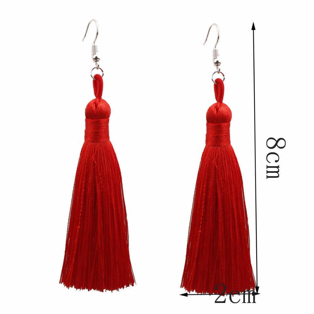 ใหม่ 18 สีคริสตัลยาวพู่ต่างหู Boho สีดำสีแดงสีขาวผ้าไหมผ้าด้ายดอกไม้ drop ต่างหู dangle เครื่องประดับ