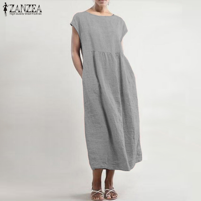 Maxi Dress 2019 ZANZEA Women Summer Sundress Casual Solid Mid Calf Vestidos Cotton Linen Sleeveless Robe Longue Femme Plus Size 1