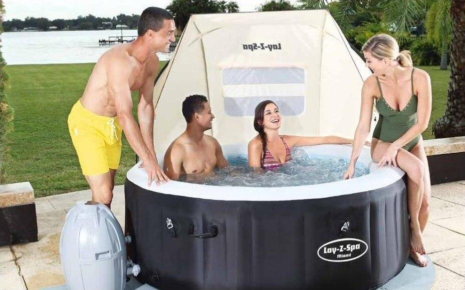 58464 Bestway 183x94x109cm SPA Canopy For All Bestway SPAs Mesh Windows Waterproof Fabric PU1000mm Coated UV Index UPF 30+