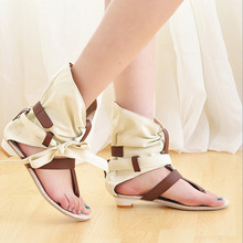 Women Canvas Sandals Open Toe Bow Buckle Leather Flats High Top New Style Beach Flip Flops Summer Black Beige