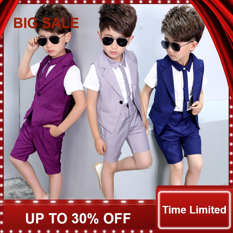 Baby Prom Suits 2-10Years old Kids Summer suits Vest + shirts + pants 3Pcs Children Boys Party
