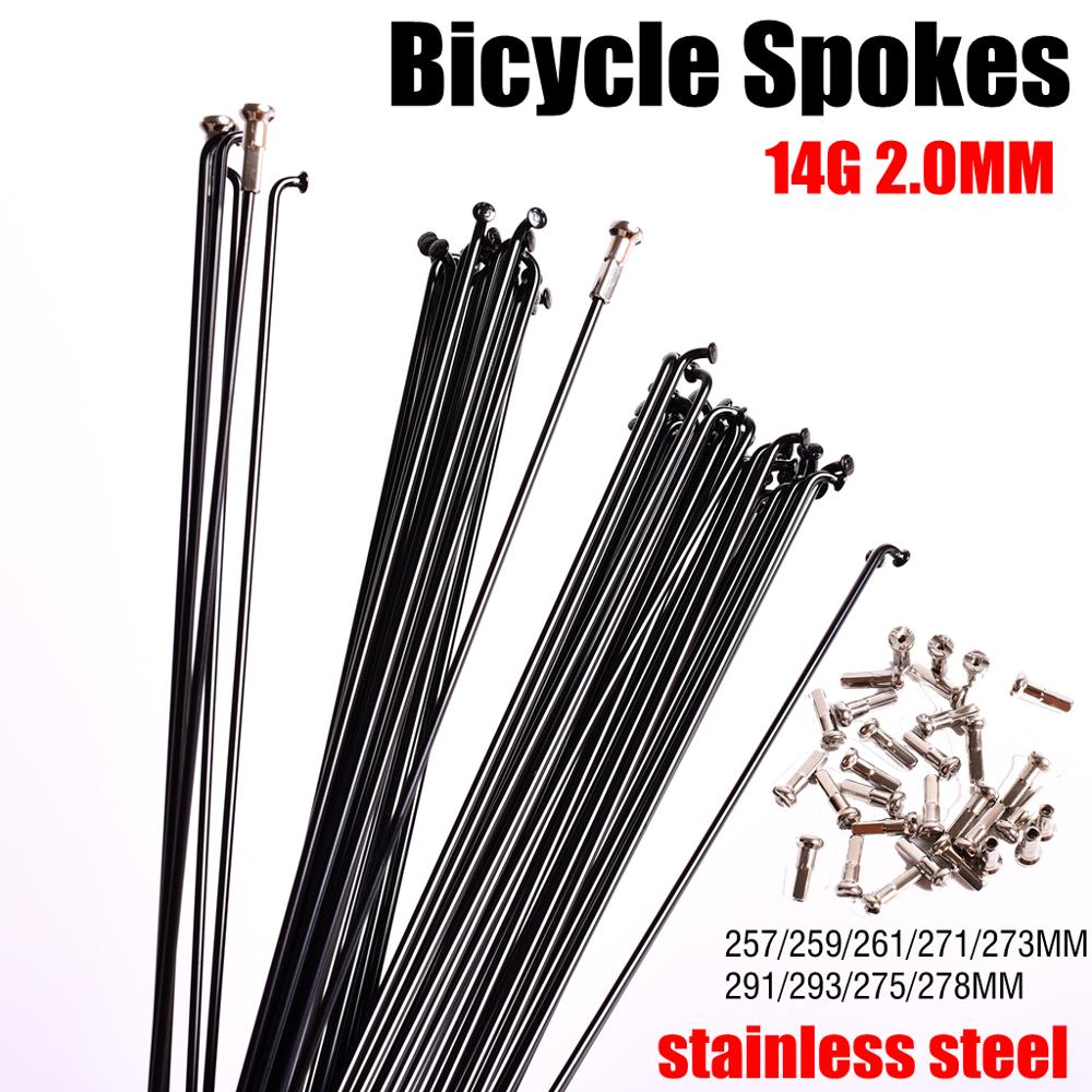 Bicycle Spoke Wire Mountain Road Bike 304 Stainless Steel High Strength 259/261/271/273/291/293MM 26 27.5 29 Inch with Free Cap