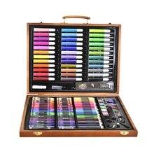 150 sztuk narzędzia do malowania duże pudełko szczotka kredka akwarelowa akwarela dziecko zestaw papeterii drewniane pudełko