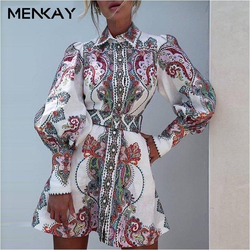 [MENKAY] 2019 printemps Vintage imprimé Floral robe élégante ceinture femmes pure lanterne à manches longues robes vêtements de mode coréenne