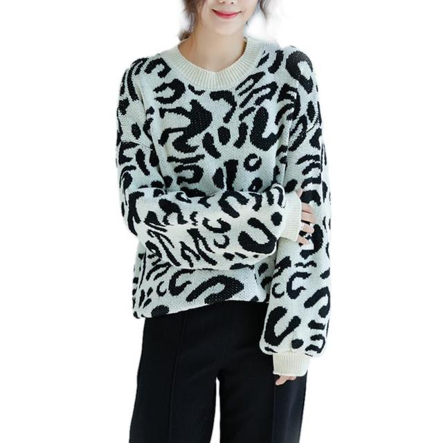 86dc3c621 Women Fashion Oversized Leopard Knitted Sweater Ladies Casual Loose ...