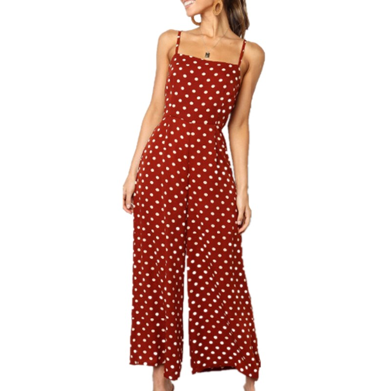 Strap   Jumpsuit   Women Polka Dot Summer Sleeveless Backless Wide Leg   Jumpsuits   Vintage Clubwear Back Bowknot Rompers