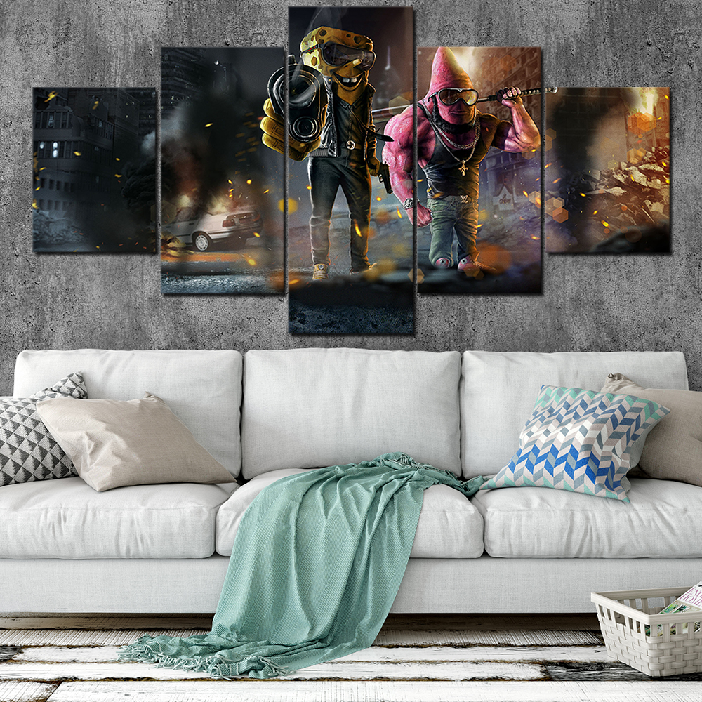 SpongeBob SquarePants Canvas Posters Home Decor Wall Art Framework 5 Pieces Paintings For Living Room HD Prints Cartoon Pictures