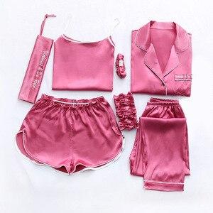 Image 3 - 2019 Summer Women 7 Pieces Silk Pajamas Satin Pyjamas Set Sleepwear Sexy Pijama Nightsuit Female Sleep Loungewear