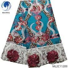 BEAUTIFICAL wax prints 100% Polyester fabrics with lace cord fabric 2019 cheaper 5 yards ankara ML2C112