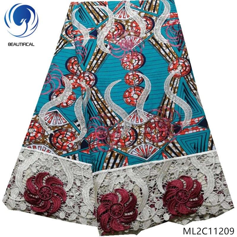 BEAUTIFICAL wosk drukuje 100% tkaniny poliestrowe z koronki przewód tkaniny 2019 taniej 5 metrów wosk tkaniny ankara z koronki ML2C112 w Koronka od Dom i ogród na  Grupa 1