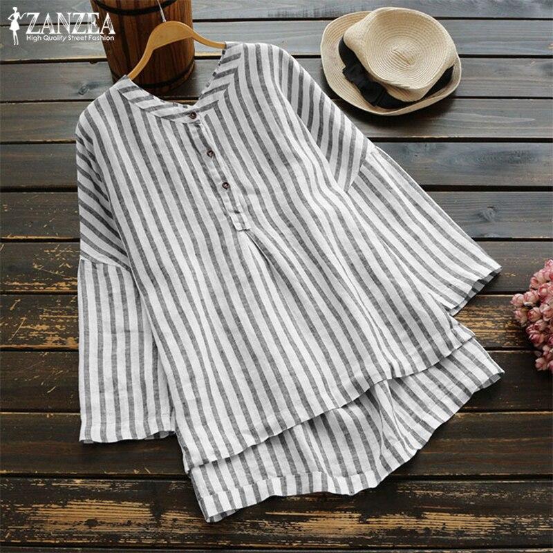 f348c89a55be ZANZEA 2019 botón abajo Camisas Mujer Blusa a rayas Vintage otoño ...