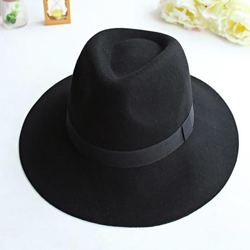 Fedora-Cap Ribbon Felt-Hat Trilby Cowboy-Hat Wool-Blend Bowler Wide-Brim Vintage Fashion
