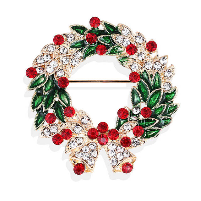fe167962ad45f Christmas Brooch Pins Rhinestone Enamel Christmas Wreath Brooches Xmas  Badges Jewelry Clothes Accessories