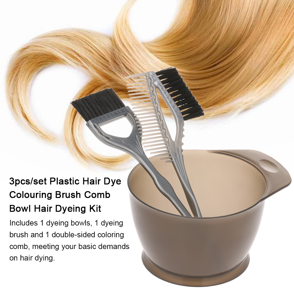3pcs/set Plastic Hair Dye Colouring Brush Comb Bowl Hair Dyeing Kit Hair Color Mixing Bowls Hairdressing Styling Tools