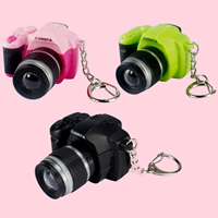 Mini Luminous Sound LED Light SLR Camera Style Keychain Keyring Car Key Chain Bag Ring Toy for Kids Birthday Christmas Gift