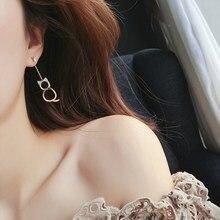 New Cute Asymmetric Cat Fish Earrings Fashion Fishbone For Women Kawaii Jewelry Gifts