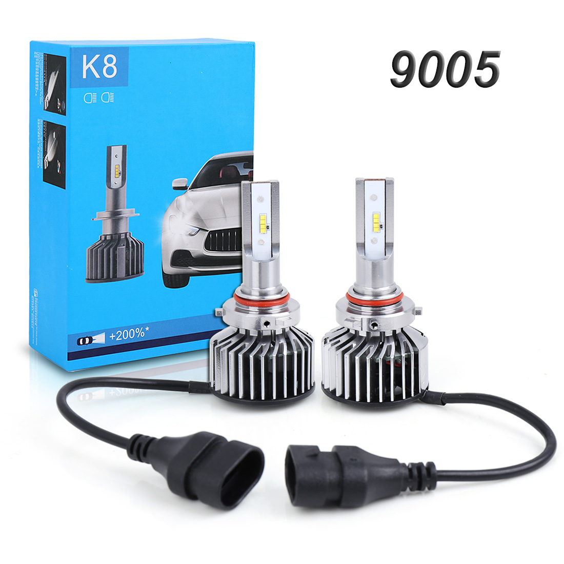 Genuine K8 9005/9012/H1/H3/H4/<font><b>H7</b></font>/H11 Car for <font><b>Philips</b></font> <font><b>LED</b></font> <font><b>Headlights</b></font> 6000K 6800LM 55W image