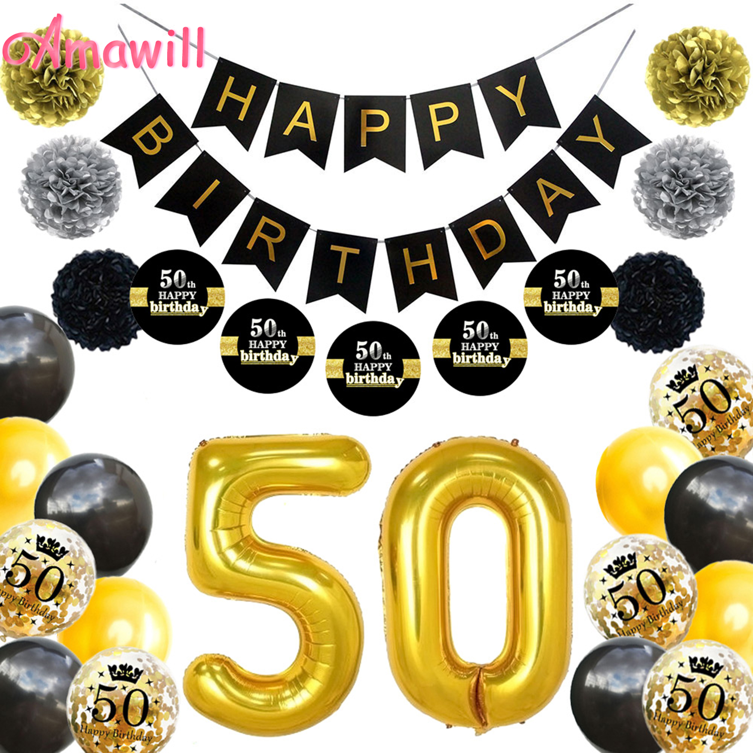 Amawil 50th Birthday Party Decorations Adult Latex Confetti Balloons Paper Flowers Black Stickers <font><b>50</b></font> Years Old Party Supplies 7D image