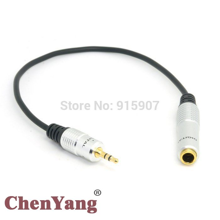 """10pcs/lot 3.5mm 1/8"""" Male Stereo Headphone Plug Adapter Converter to Audio Aux 6.35mm 1/4"""" Female Cable 20cm"""