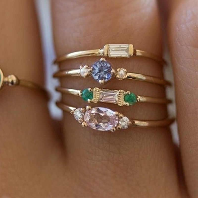 ขาย 4 ชิ้น/เซ็ตคริสตัลชุดแหวนนิ้วมือผู้หญิง Zircon Party เรียบง่าย Boho สุภาพสตรีสีทองแหวน