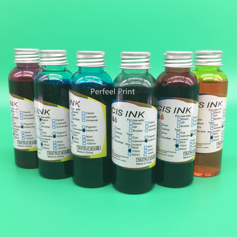100ML x 6 Bottles T0791 T0796 Edible Ink For Epson Stylus Photo 1400 PX700W PX800FW P50